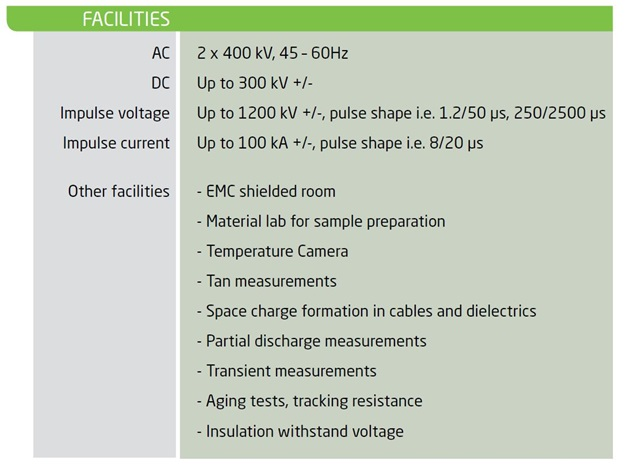 High Voltage Lab - Technical Specifications